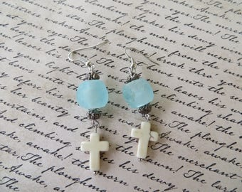 African Sea Glass And White Howlite Cross Earrings