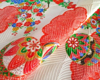 Japanese pure silk cloth from Kyoto Red Floral pattern