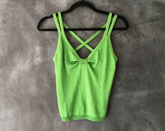 90s Moschino Knit Tank Camisole Kelly Green Metallic Sweater Lime Green Top Ladies Size 42/M