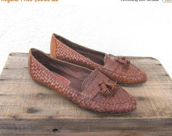 SALE 90s Vintage Italian Cole Haan Woven Tasseled Leather Loafers Ladies Size 10M