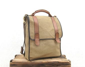 20% Off Sale SALE Satchel Briefcase Cross Body Large Italian Beige Canvas and Tan Leather Bag