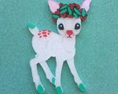 Flower Deer Handmade Perspex Brooch - Snowy Christmas Deer