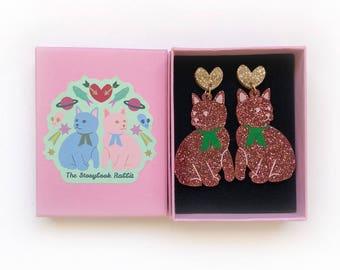Large Size Glittery Kitty Dangle Stud Earrings - Pink Glitter