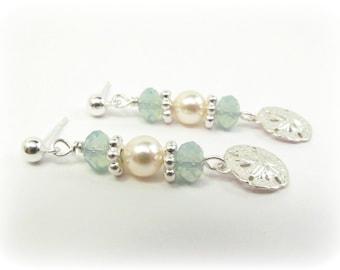 Pacific Opal & Pearl Sterling Silver Sand Dollar Earrings, Beach Jewelry, Beach Wedding Earrings