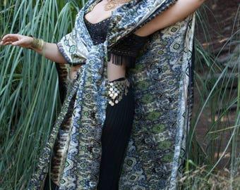 Boho Satin Kimono,Versatile Beach Wrap,Kaftan,Festival Scarf,Tunic,Satin Robe, Tribal Wrap, Unisex Robe,Burning Man Clothing, Bohemian Scarf