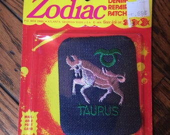 Vintage 1970's Zodiac Denim Repair Patch Postcard Taurus Three Fish