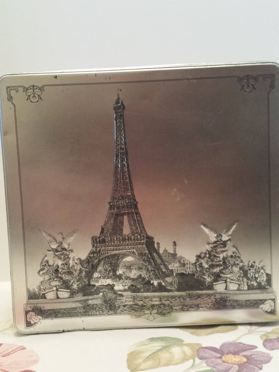 Eiffel Tower Decorative Tin Container - Gift Box Container - Embossed Design - Paris Scenery