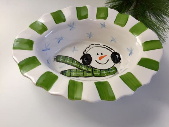 Hand painted, ceramic, snowman platter with ruffle edge, snowman dish, whimsical snowman dish, christmas serving dish, snowman serving dish