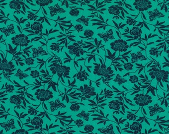 1 Yard - Pool Green & Navy Butterfly Print - Cotton Fabric - by the yard