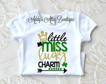 Baby Girl First St Patricks Day Shirt, Little Miss Lucky Charm Shirt, Toddler Girl Clothes, St Patricks Day Shirt