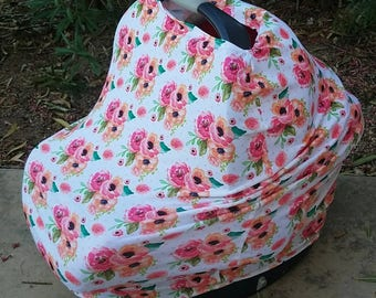 Baby Car Seat Canopy - Stretchy Car Seat Cover - Nursing Poncho - Floral Boho Baby Cover - Baby Shower Gift - Multi Purpose Baby Cover