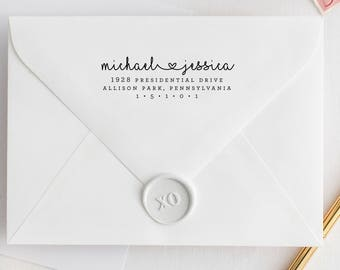Custom Address Stamp, Name with Heart, Couples Address Stamp, Love Stamp with Heart, Custom Return Address Stamp, Love Address Stamp