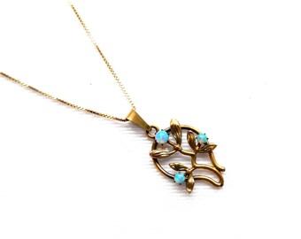 "Antique Art Nouveau Etched Rose Gold Blue Opal Leaves Pendant Necklace - Opaline - Fire Opal - 18"" Gold Vermeil Box Chain Signed ITALY"