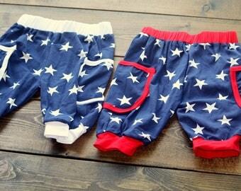 Handmade 4th of July Harem Shorts 4T