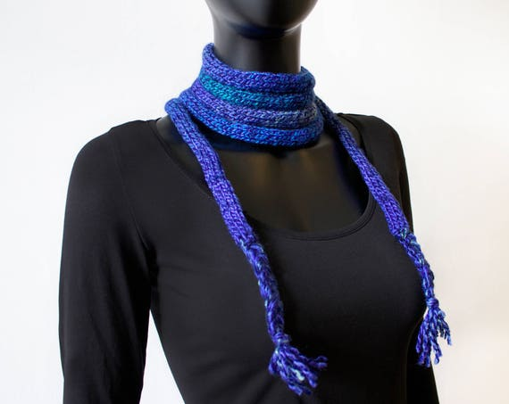 Moonlight Spaghetti Scarf - Dark Blue Scarf Thin Design for versatile wearing throughout the year - Deep Blue Skinny Scarves Stocking Filler