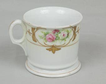 Vintage Shaving Mug white porcelain Signed Leucht F. Naurgh Germany Painted roses with Gold accents Excellent condition