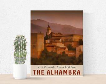 Alhambra Art Print A4 A3 A2 Poster Print Retro Travel Poster Spain Art Print Sunset Art Europe Poster Granada Spain