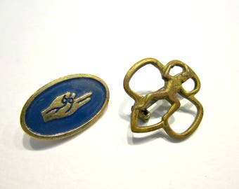 Vintage Brownie Pin Girl Scout Promise Pin Vintage Pin Lot Brass Blue Enamel Pin Collection Under 10 Vintage Jewelry