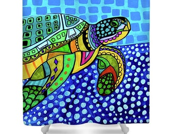 Sea Turtle Shower Curtain - Animal Lovers Bathroom Decor gift by Heather Galler Hawaii Hawaiian Decor