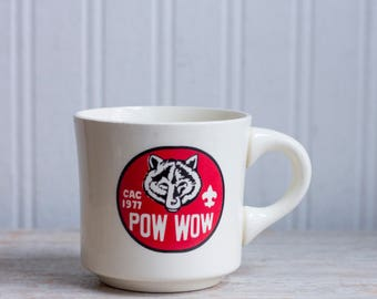Vintage Mug, CAC 1977 Pow Wpw, Cub Scout Wolf, Retro Scouting coffee cup