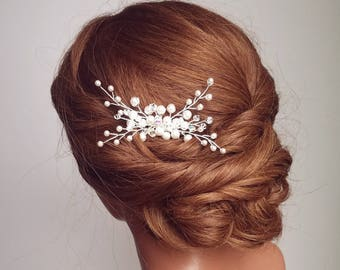 Pearl Hair Comb, Crystal Hair Comb, Bridal Hair Comb, Wedding Hair Piece, Headpiece, Beaded Hairpiece, Hair Vine, Bridal Accessory