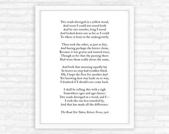 Inspirational Gift for him, for her, The Road Not Taken poem print, Robert Frost, road less traveled