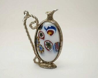 Large Vintage Italian Sterling/Millefiori Glass Jug Charm
