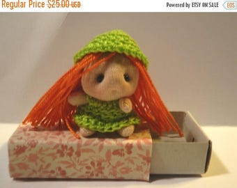 Summer Sale Miniature Movable Doll  Soft Sculpture in Matchbox