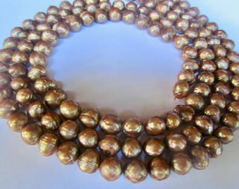 45  Golden Copper Fresh Water Faceted Pearls in Size 7.5-9mm ——1 Strand