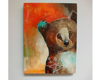 Original bear painting mixed media art painting on wood canvas 8x6 inches - Feel free, think big