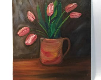 Pink Tulips, Still Life Study, Oil Painting, Wall Art, Medium Size 20 x 17 inches,  Rust, Dark, Deep Color,  Cottage Farmhouse Decor, Art