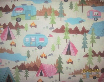 CAMPERS, Tent, Camping, Campfire, Mountains, Cotton Fabric, Fat quarter, 18X22, scrap, remnant, camp, travel, trailer, living simply, trees