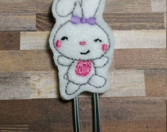 Fun Easter Bunny Feltie Bookmark / Felt Paper Clip / Ready To Ship