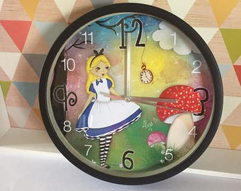 Illustrated wall clock * Alice *.
