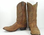 justin cowboy boots men's 12 EE dark brown distressed leather western made in usa vintage