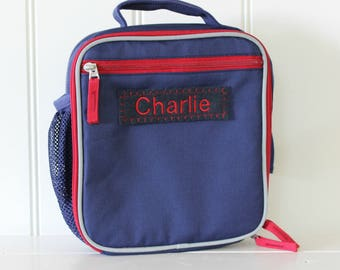 Lunch Box With Monogram Pottery Barn (Fairfax) -- Navy/Red