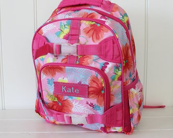 Large Size Pottery Barn Backpack With Monogram -- Pink Tropical