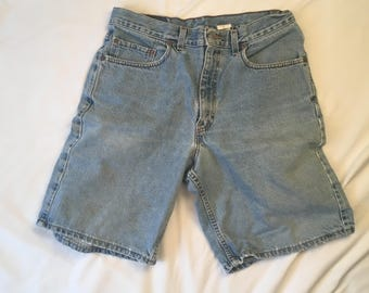 Levi's 550 Relaxed Fit Men's Denim Shorts 90s Vintage Flat Front High Waisted 32 waist Faded Light Wash Jeans