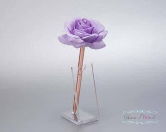 Lavender Rose Guestbook Pen. Rose Gold Wedding Pen Set, Wedding Pen Holder, Real Touch Rose Flowers. Light Purple Lilac. Tea Rose Collection