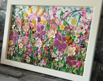 Wild Flowers Collage, Mixed Media Glitter, Upcycled - Recycled elements, acrylic paint Original Art, meadow, Framed by Sharon Perry