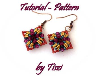 Beading pattern, tutorial for beaded earring Cettina with SuperDuo and bicone, PDF instructions, Step by step