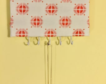 Retro Red Geometric Printed Fabric Upholstered Jewelry Holder With Hooks for Hanging Necklaces