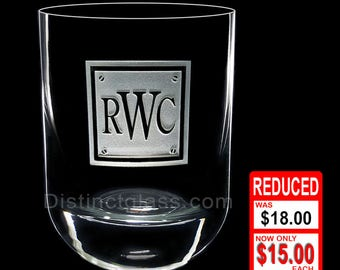 Gifts for Men Dad Grandpa Brother Uncle Husband - Personalized MONOGRAM SCOTCH WHISKEY Glasses - 12.25oz Etched Glass Gifts Ships to Canada