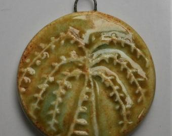 Handcrafted Yellow Willow Tree Ceramic Pendant PEN240814