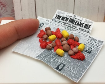 Reserved listing for Laura- Miniature Dollhouse One dozen Crawfish 1:12 scale one inch mardi gras fat tuesday louisiana seafood