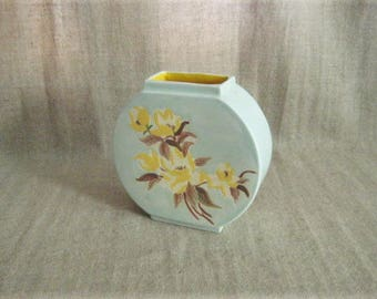 Mint Green Art Deco Vase with Floral Design and Yellow Interior /Vintage Art Deco Disc-Shaped Vase / Cool Retro Vintage Vase in Mint Green