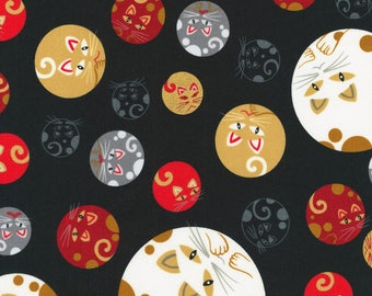 Robert Kaufman Whiskers & Tails Collection Black Cats In Circles With Metallic Fabric - 1 yard