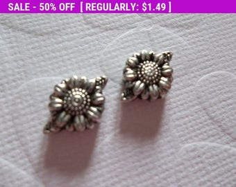 50% OFF Clearance SALE Silver Sunflower Beads - Silver Plated Pewter - 13mm - 3mm Thick - Qty 6