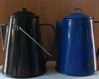 2 Vintage ENAMEL METAL COFFEE Kettles Pots Perculator Fire Camping Coffee Maker Carafe Cobalt Blue Black Granite Ware Coffee Pots Hot Water