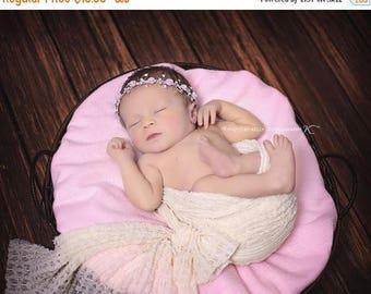 ON SALE Pink Rose Rhinestone Headband, Baby Bling, Bling Band, Rhinestone Headband, Baby Girl Prop, Photography Prop, Newborn Photo Prop